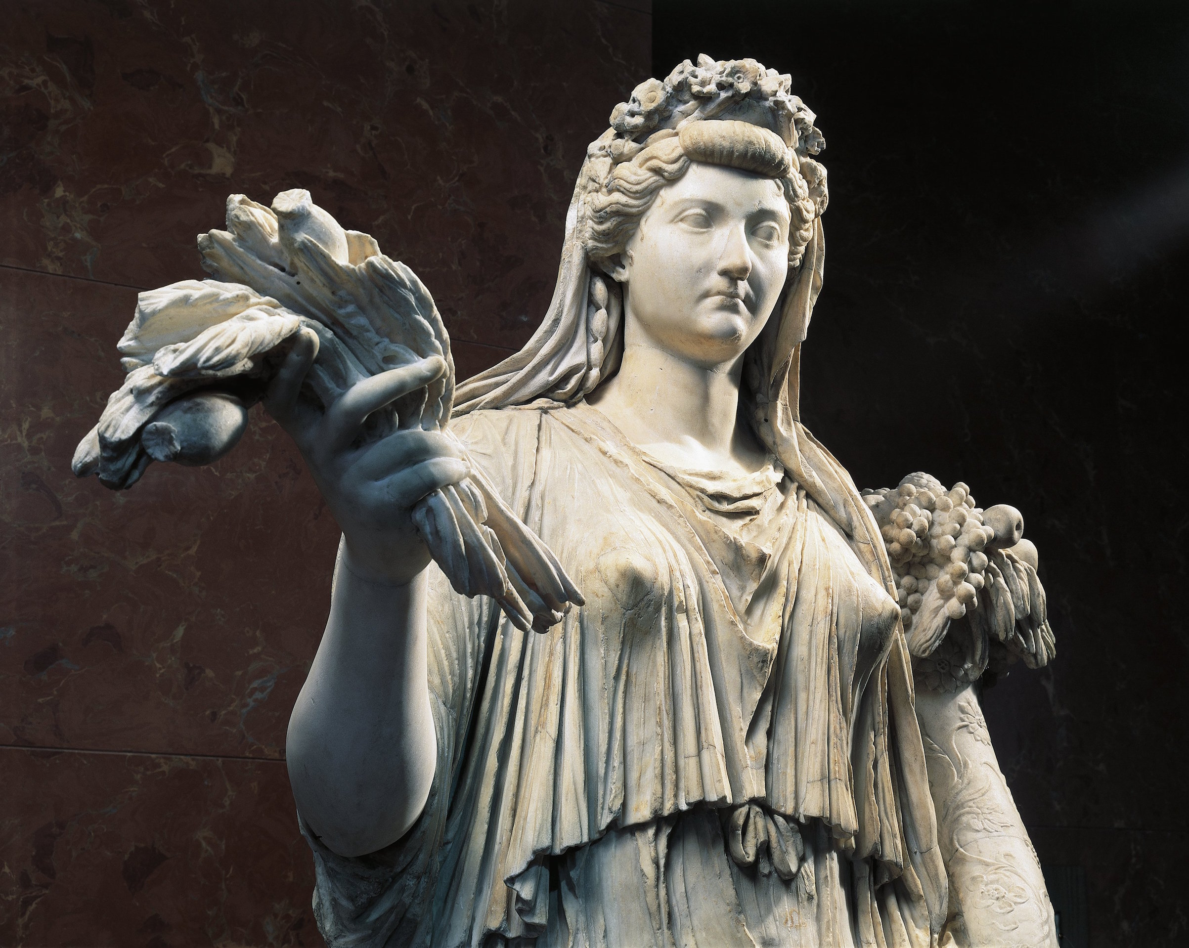 Marble statue of Livia, wife of emperor Octavian Augustus, from the 1st century AD.