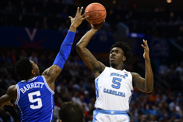 North Carolina Tar Heels forward Nassir Little #5 shoots over Duke Blue Devils forward RJ Barrett #5 during the ACC basketball tournament between the Duke Blue Devils and the North Carolina Tar Heels at the Spectrum Center in Charlotte, NC on March 15, 2019.