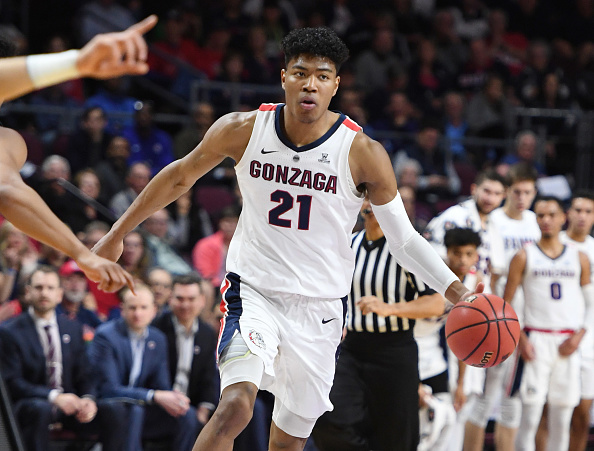 Rui Hachimura #21 of the Gonzaga Bulldogs brings the ball up the court against the Pepperdine Waves during a semifinal game of the West Coast Conference basketball tournament at the Orleans Arena in Las Vegas, Nevada on March 11, 2019.