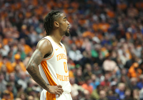 Tennessee Volunteers guard Jordan Bone watches the final seconds tick off the clock during the Southeastern Conference Tournament championship game between the Tennessee Volunteers and Auburn Tigers at Bridgestone Arena in Nashville, Tennessee on March 17, 2019.