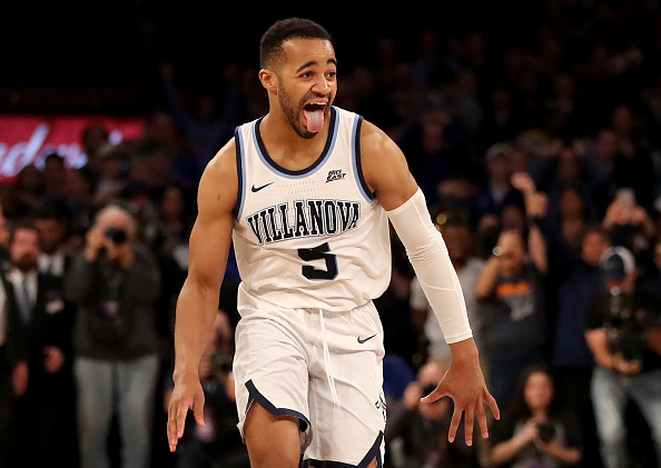 Phil Booth #5 of the Villanova Wildcats celebrates the 74-72 win over the Seton Hall Pirates during the Big East Championship Game at Madison Square Garden in New York City on March 16, 2019.