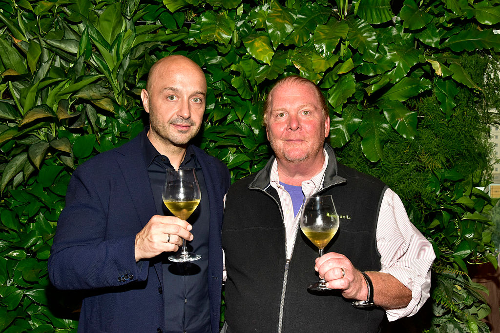 Joe Bastianich and Mario Batali attend the Eataly Downtown NY Ribbon Cutting on August 2, 2016 in New York City.