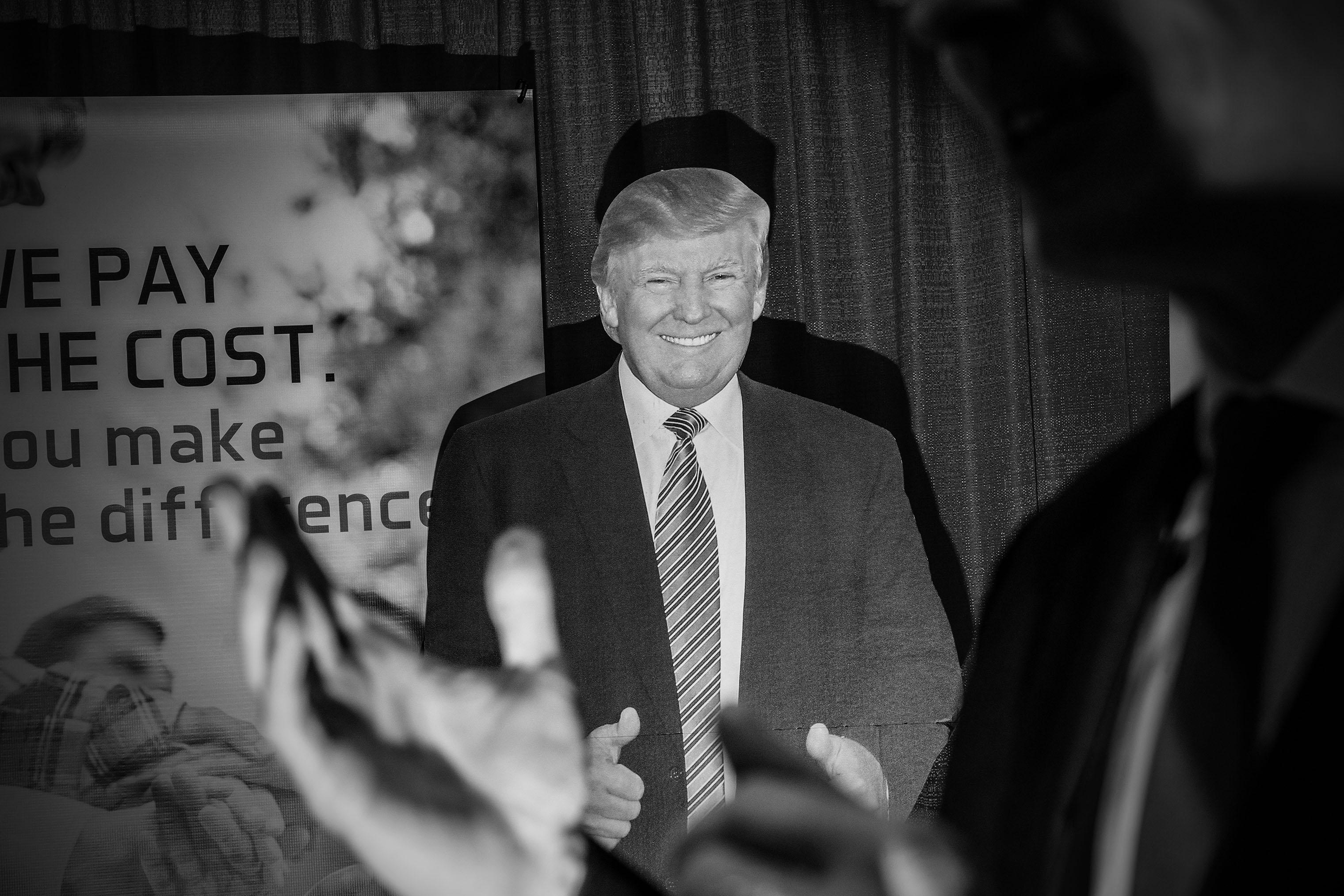 Cutout of President Donald Trump at CPAC.