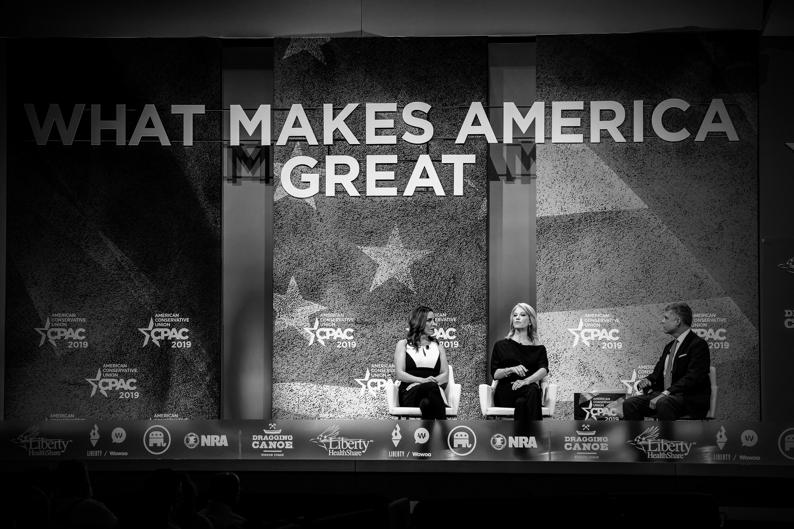 Fox News' Sara Carter and Kellyanne Conway are interviewed by Scott Walter.