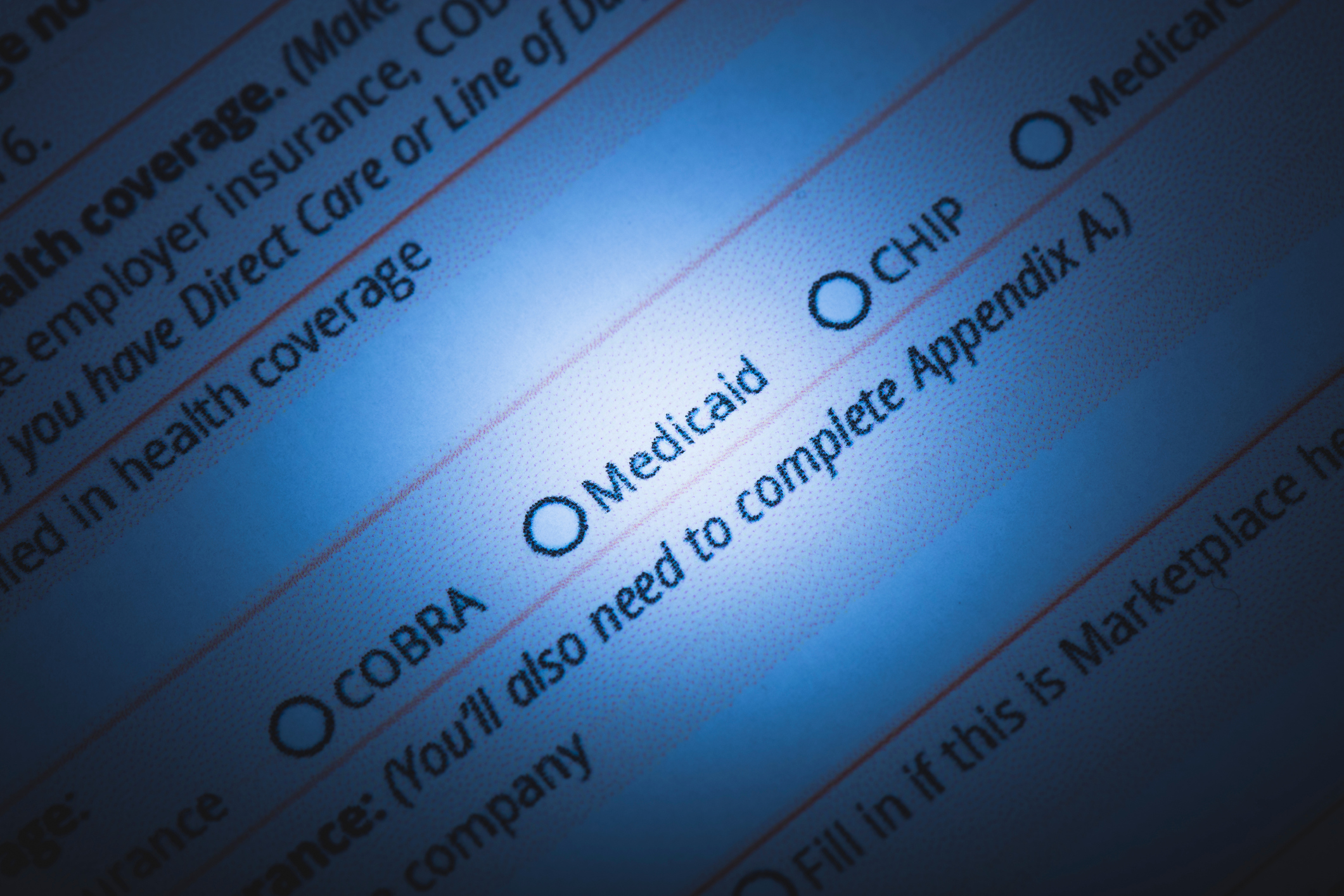 A stock photo of a US Healthcare / Health insurance application form. A federal judge struck down blocked work requirements for people on Medicaid in Kentucky and Arkansas on March 27, 2019.