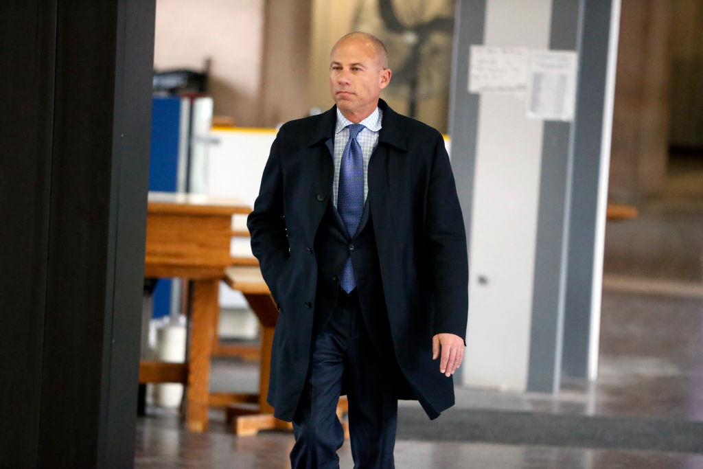 Attorney Michael Avenatti arrives at the Leighton Criminal Courthouse for R. Kelly's first court appearance on February 23, 2019 in Chicago, Illinois. On Monday, Avenatti was charged with attempting to extort more than $20 million from Nike.