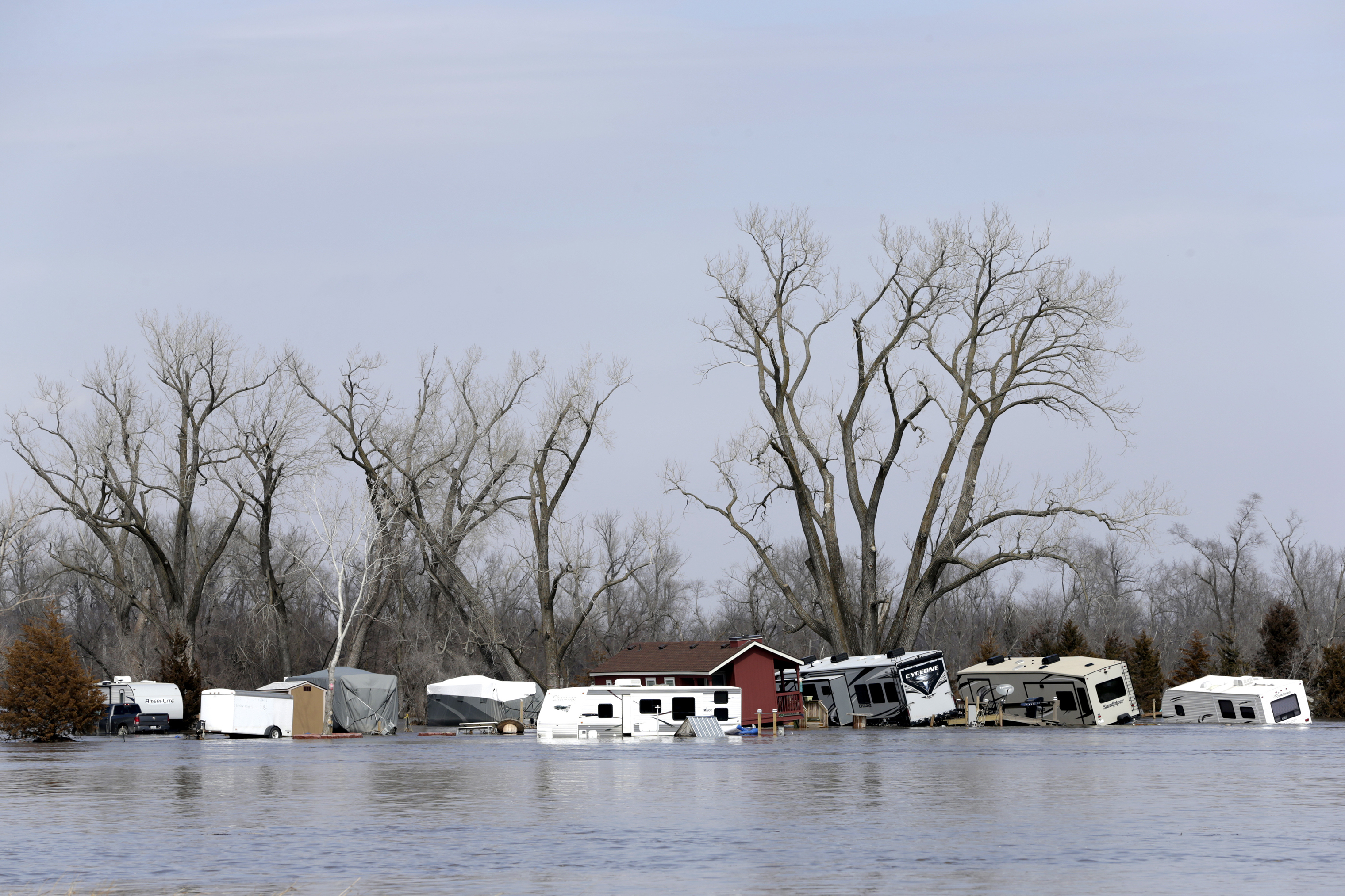 RVs, washed away by the flood waters of the Platte River, are seen in Merritt's RV Park in Plattsmouth, Nebraska, March 17, 2019.