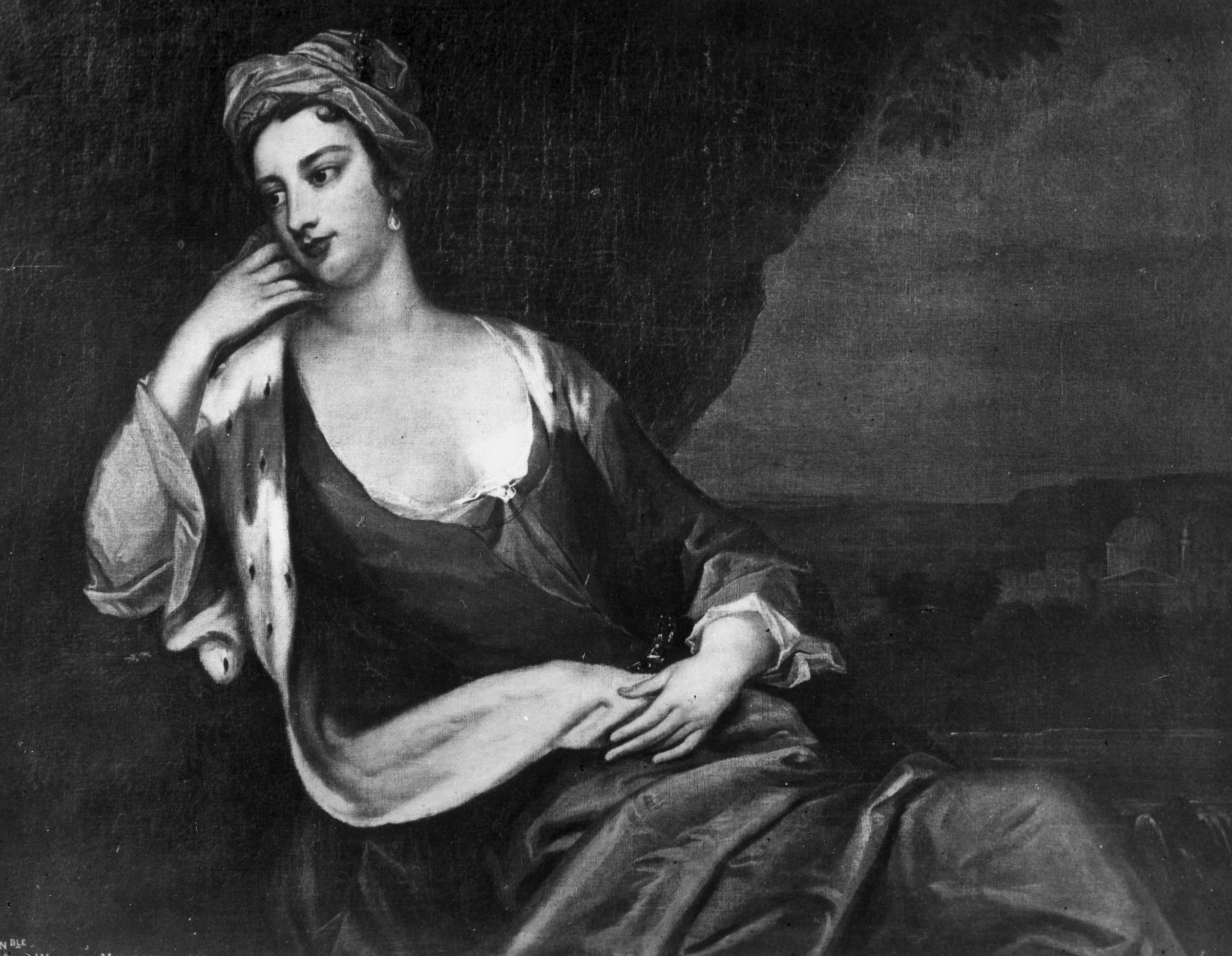 British writer and explorer Lady Mary Wortley Montagu (1689 - 1762). Portrait by Sir Godfrey Kneller, 1720.