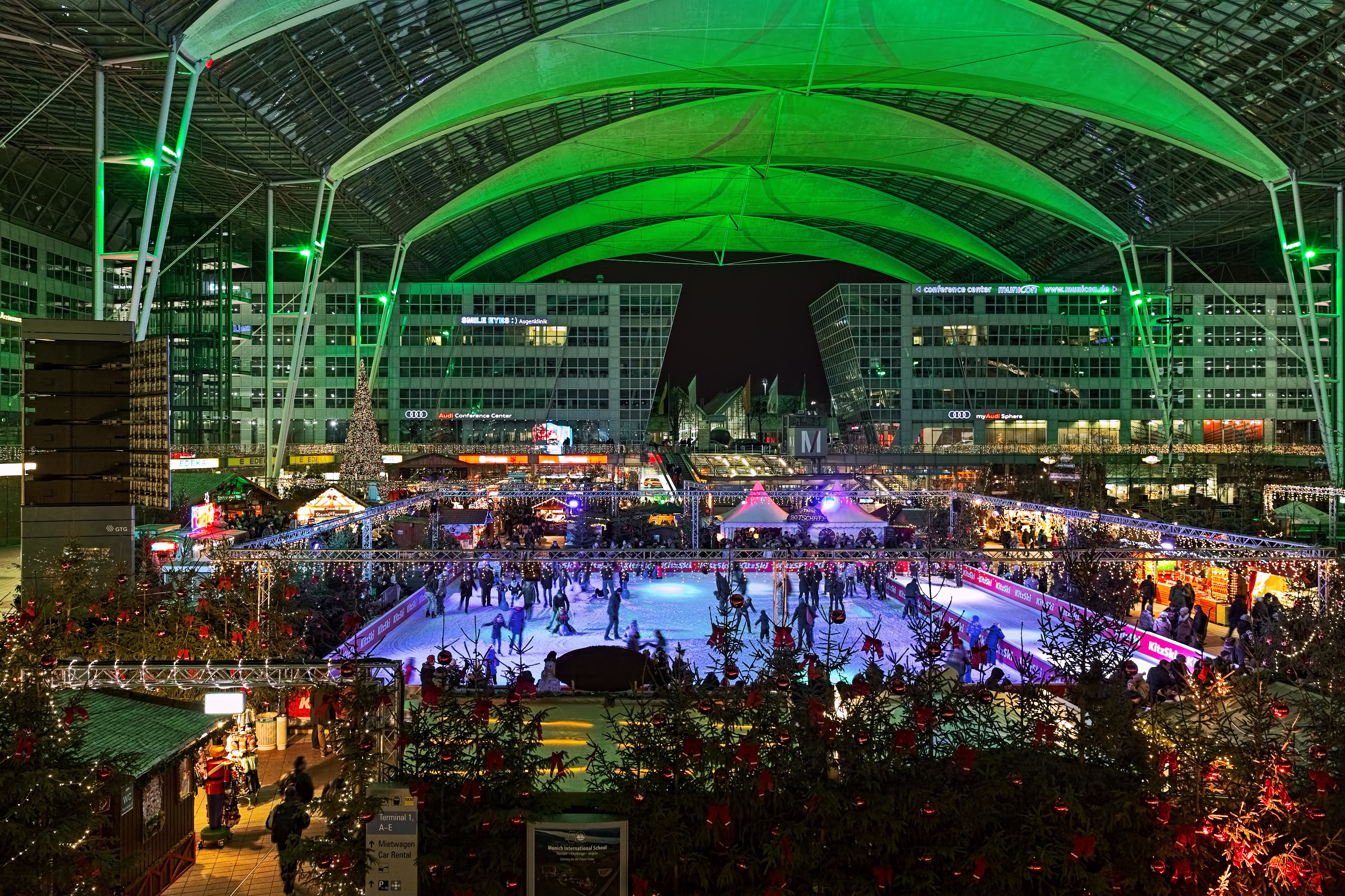 Christmas and Winter Market and ice rink in the Munich Airport.