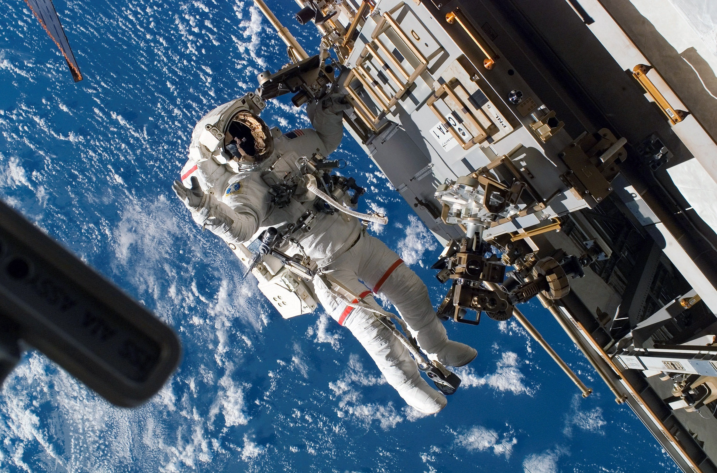 In this handout photo provided by NASA, Astronaut Rick Mastracchio, STS-118 mission specialist, participates in the mission's third planned session of extravehicular activity (EVA) as construction and maintenance continue on the International Space Station August 15, 2007 in Space.