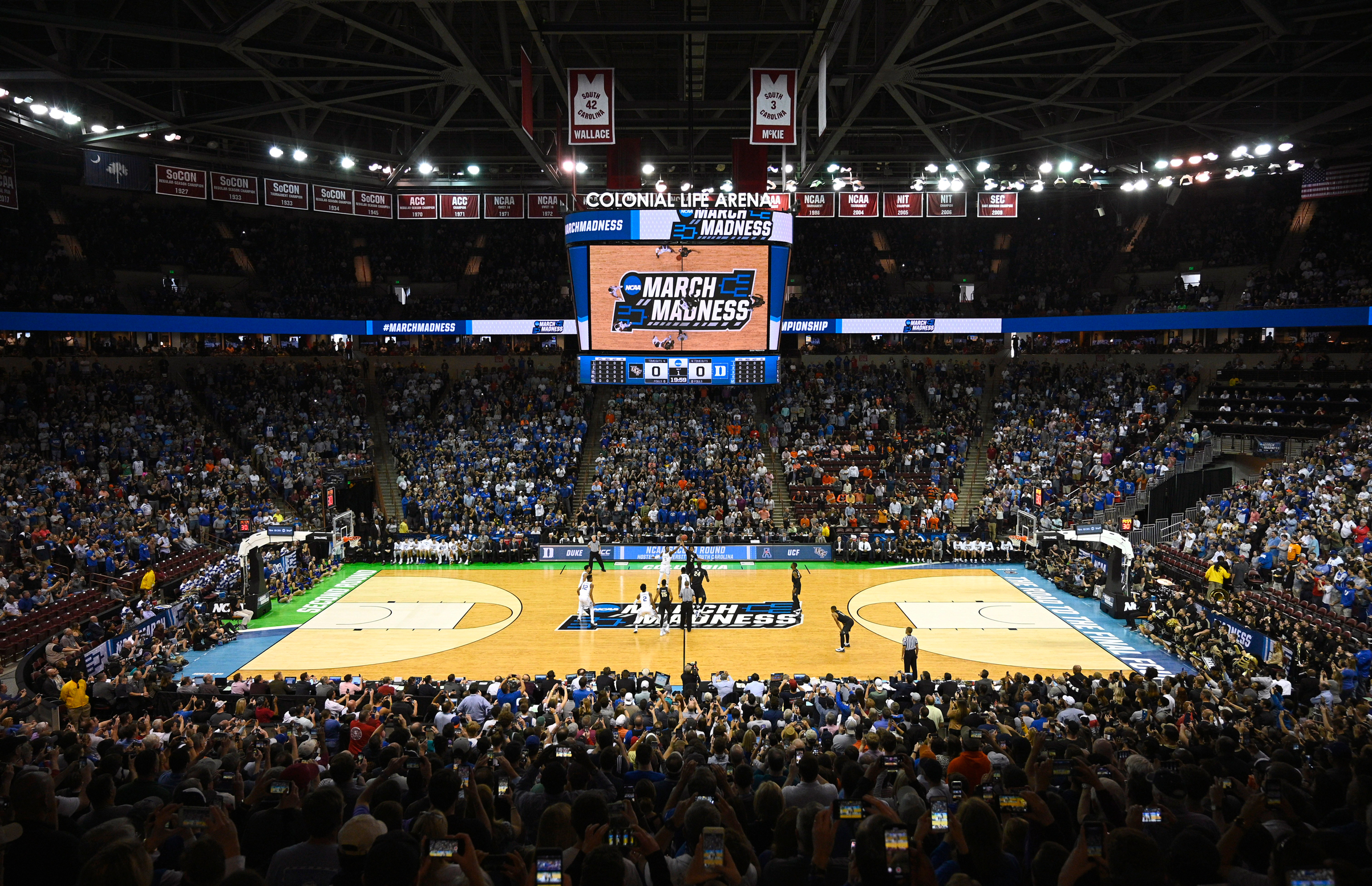 The game between the Duke Blue Devils and the University of Central Florida Knights tips off in the second round of the 2019 NCAA Men's Basketball Tournament on March 24, 2019 in Columbia, South Carolina.