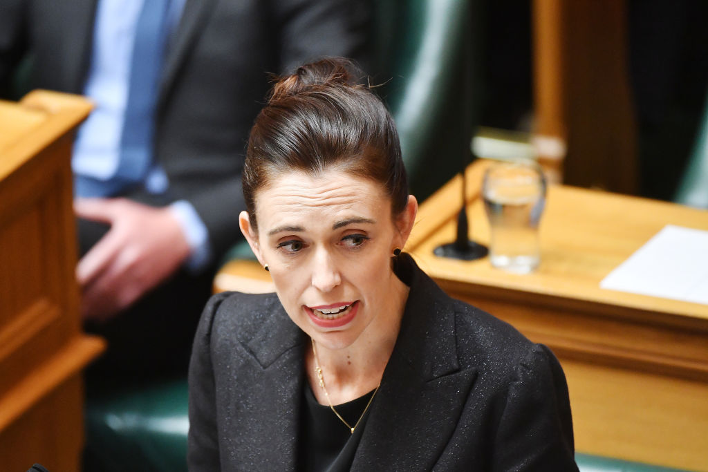 Prime Minister Jacinda Ardern speaks to the house at Parliament as New Zealand considers gun law reforms on March 19, 2019 in Wellington, New Zealand.