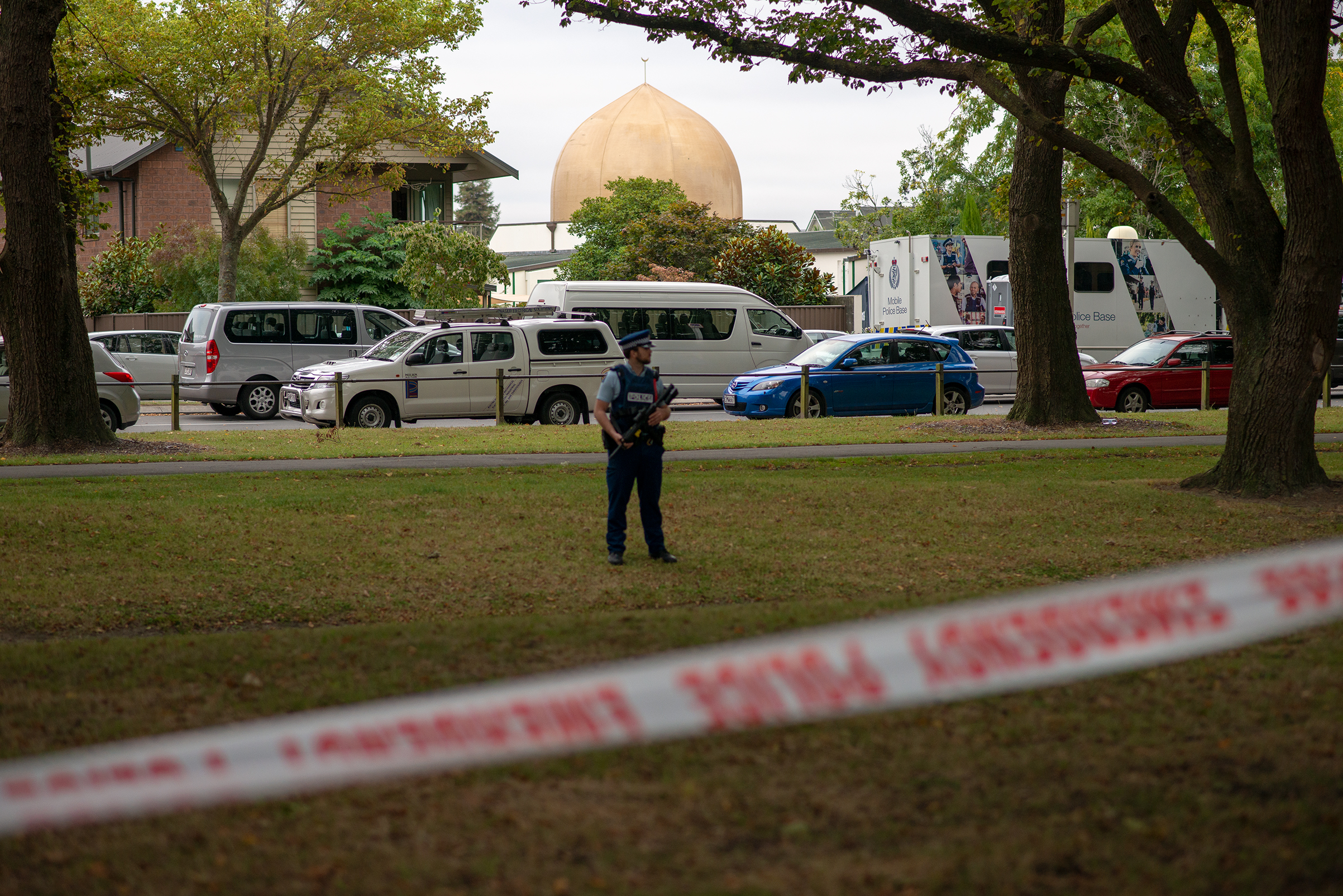 The golden dome of the al-Noor mosque in Christchurch, where 42 worshippers were killed on March 15