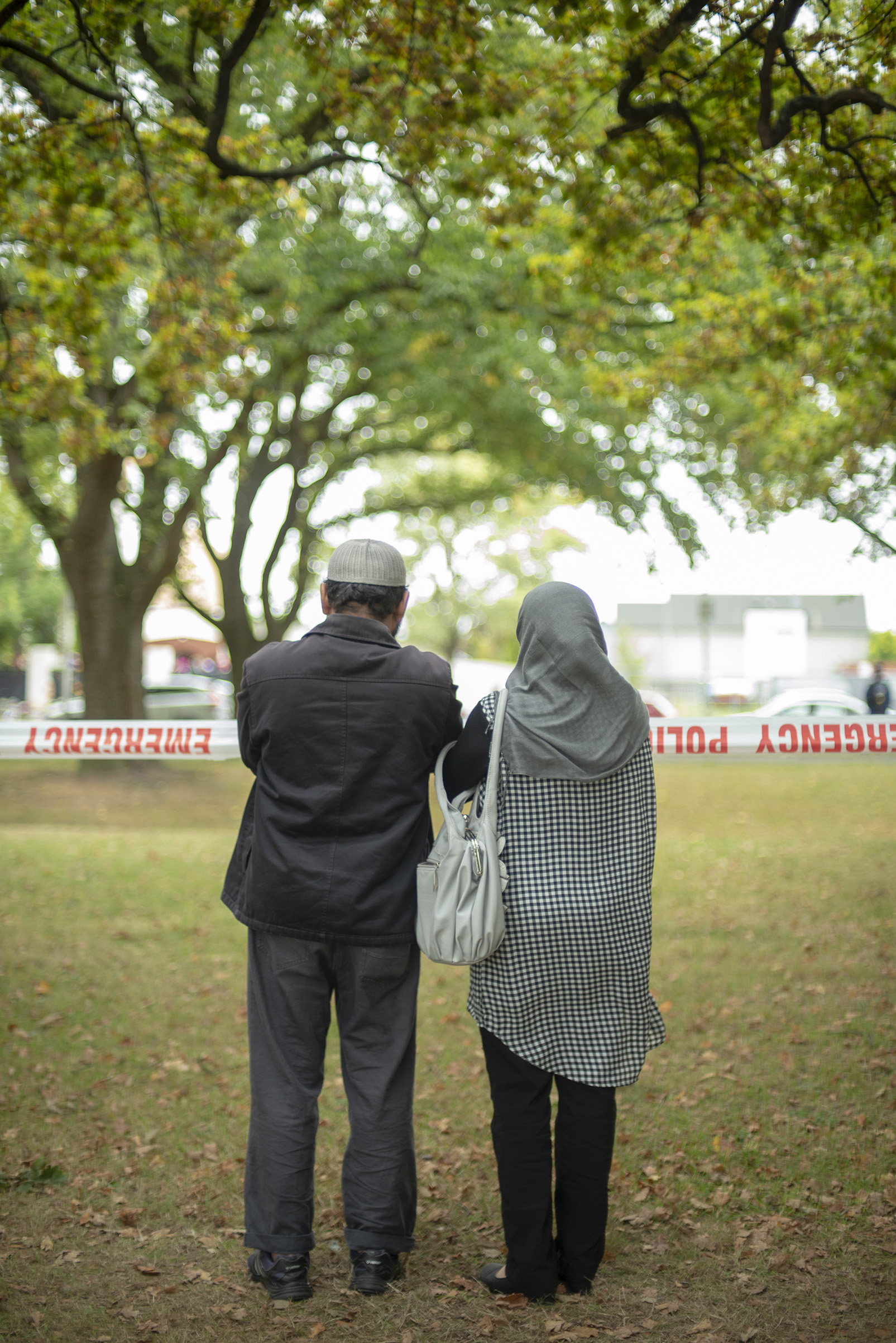 Outside the at Masjid Al Noor Mosque memorial site in Hagley Park, where one of the two mass shootings occurred, Christchurch, New Zealand, March 17, 2019.