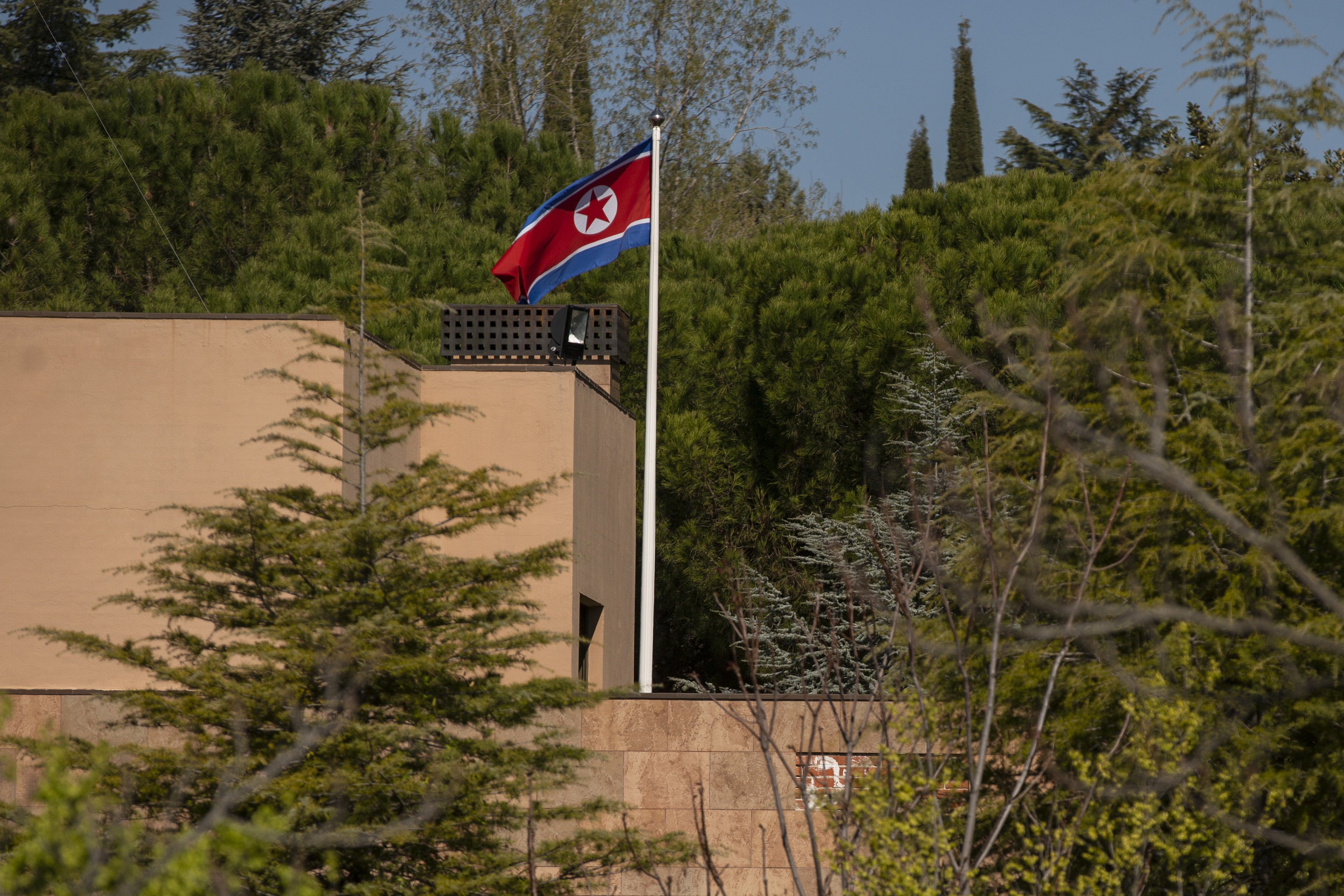 A North Korea flag waves in the wind at the North Korean Embassy in Madrid, Spain, on March 27, 2019.