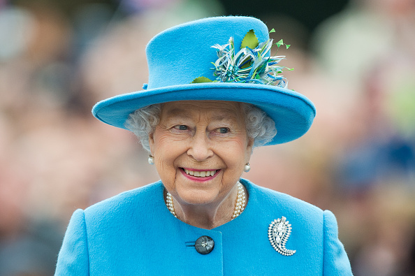 Queen Elizabeth II tours Queen Mother Square in Poundbury, Dorset on October 27, 2016.