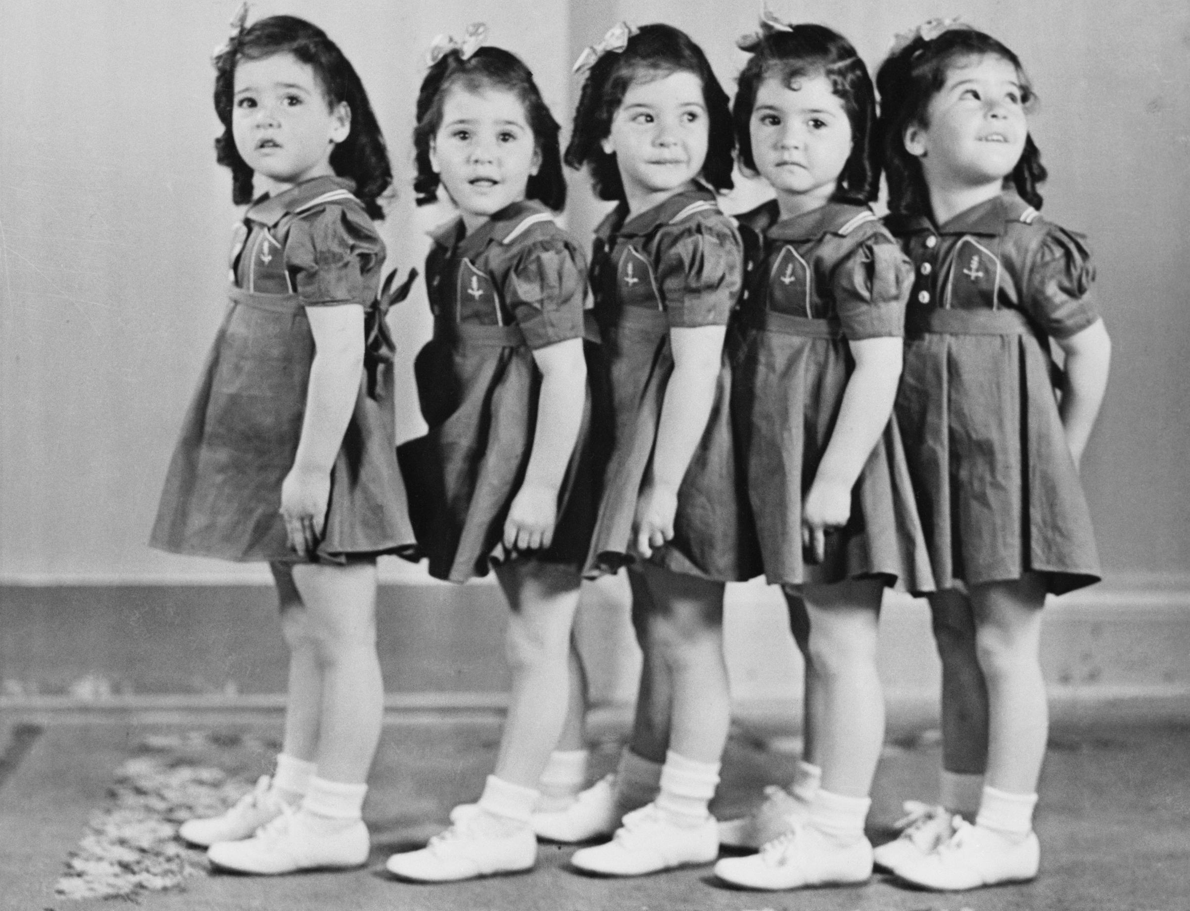The world-famed Dionne Quintuplets in 1938 when they were 4 years old.