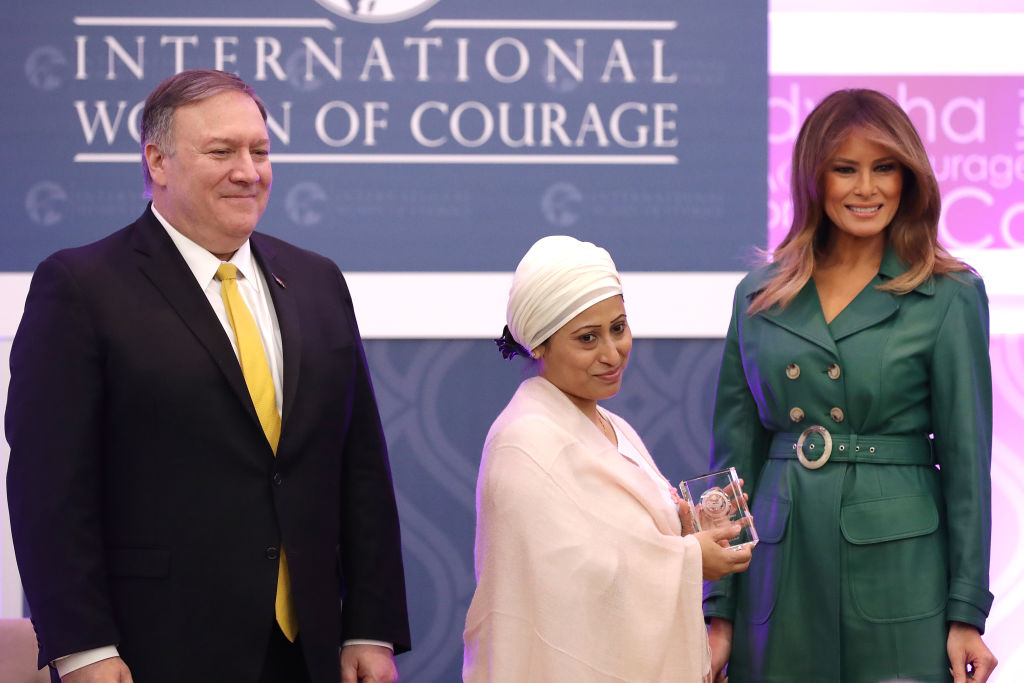 Razia Sultana (center) is presented the International Women of Courage Award by Secretary of State Mike Pompeo and First Lady Melania Trump in Washington, D.C. on March 07, 2019.