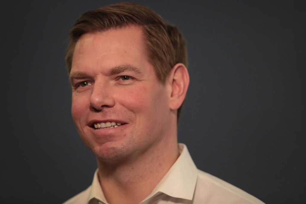 Congressman Eric Swalwell (D-CA) speaks to guests during an event at the Iowa City Public Library on February 18, 2019 in Iowa City, Iowa.