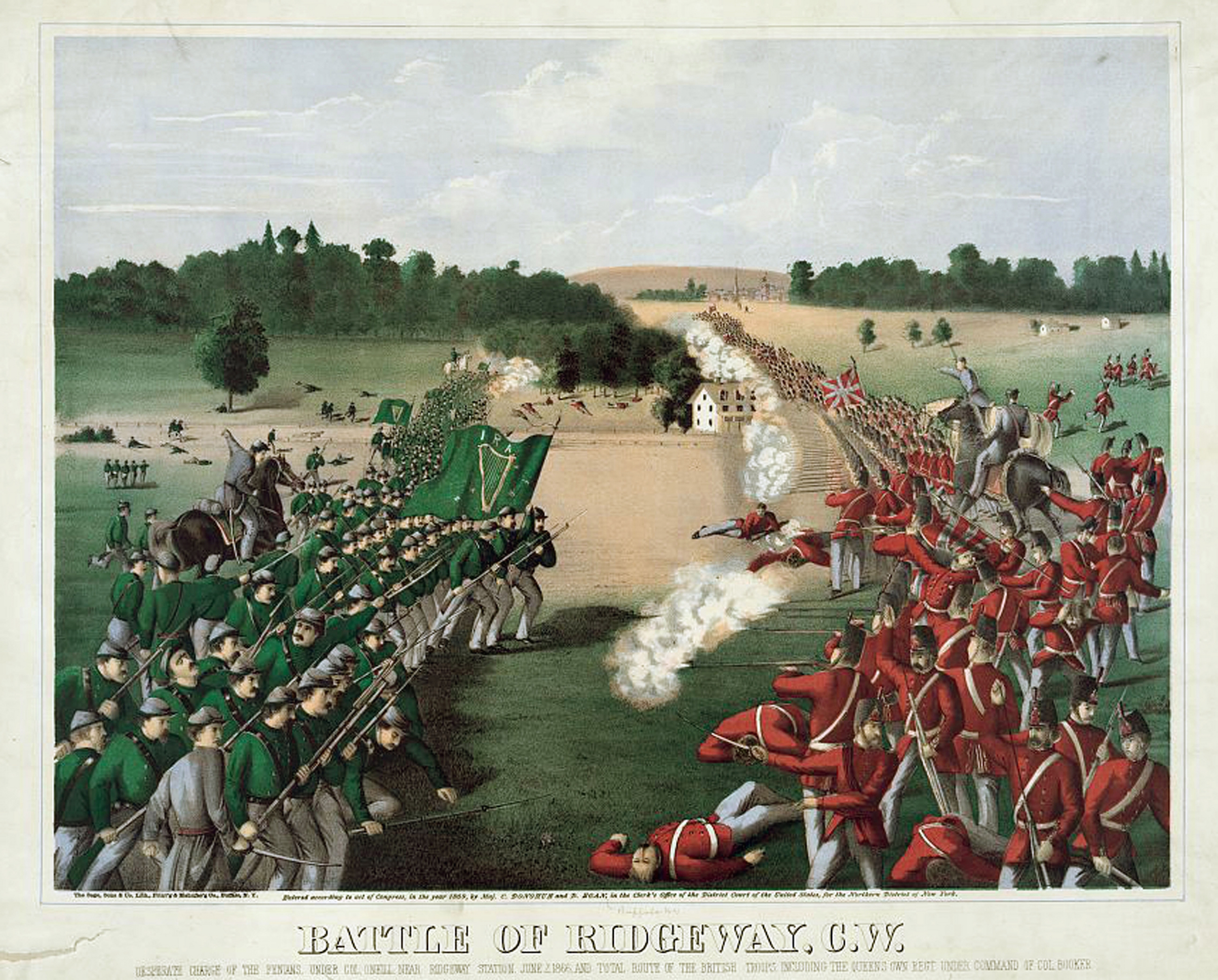 Battle of Ridgeway, Ontario (Canada West), June 2, 1866. Rout of Canadian troops by an irregular Irish-American army, the Fenians, left. Coloured lithograph c1868.