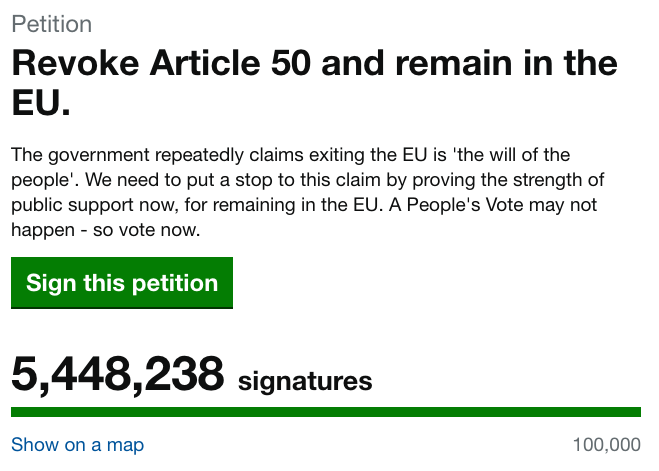 A petition calling on the U.K. government to cancel Brexit