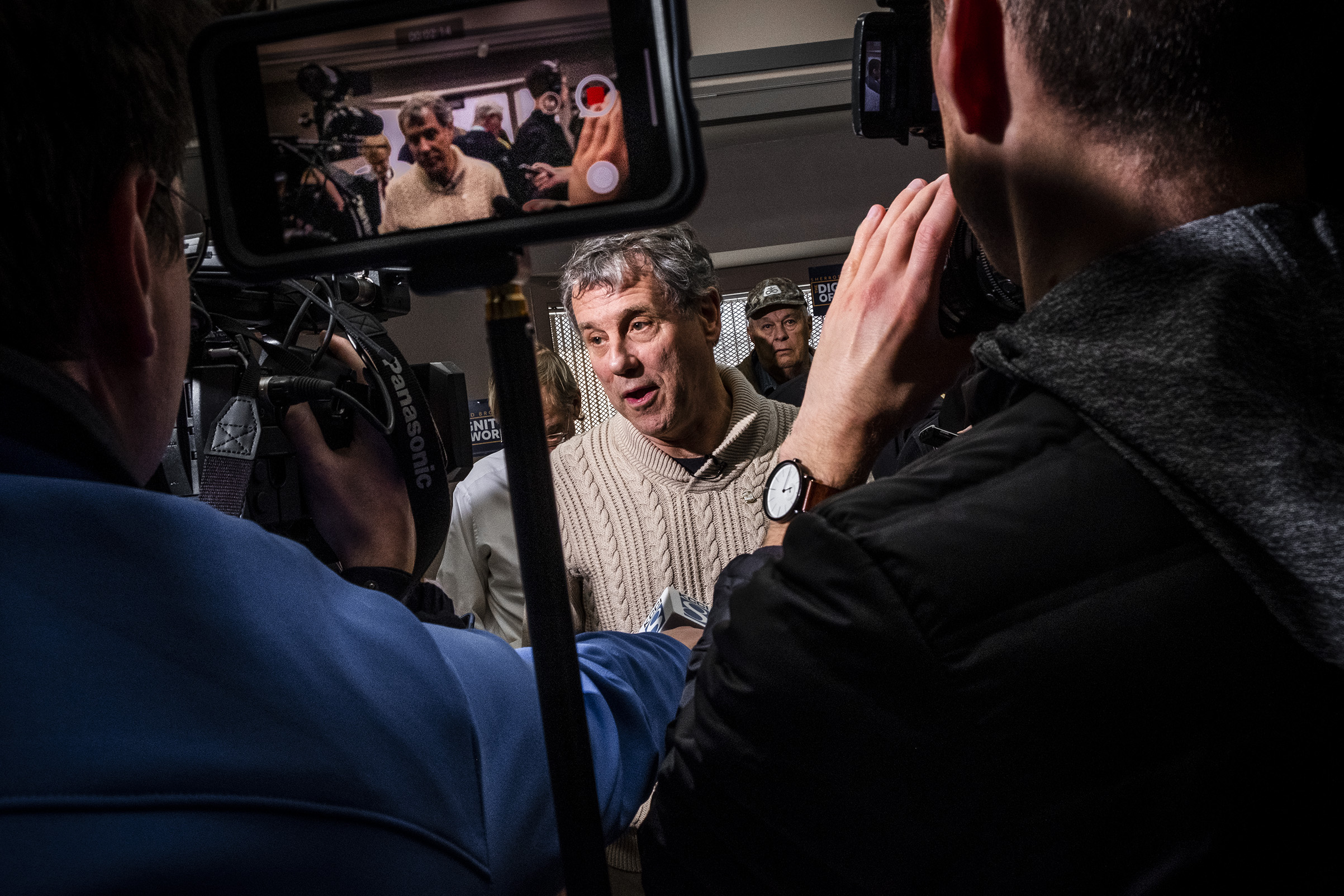 Ohio Sen. Sherrod Brown                    speaks to press during a roundtable with local farmers during his Dignity of Work tour, at                   Perry Public Library in Perry, IA on Feb. 1, 2019.