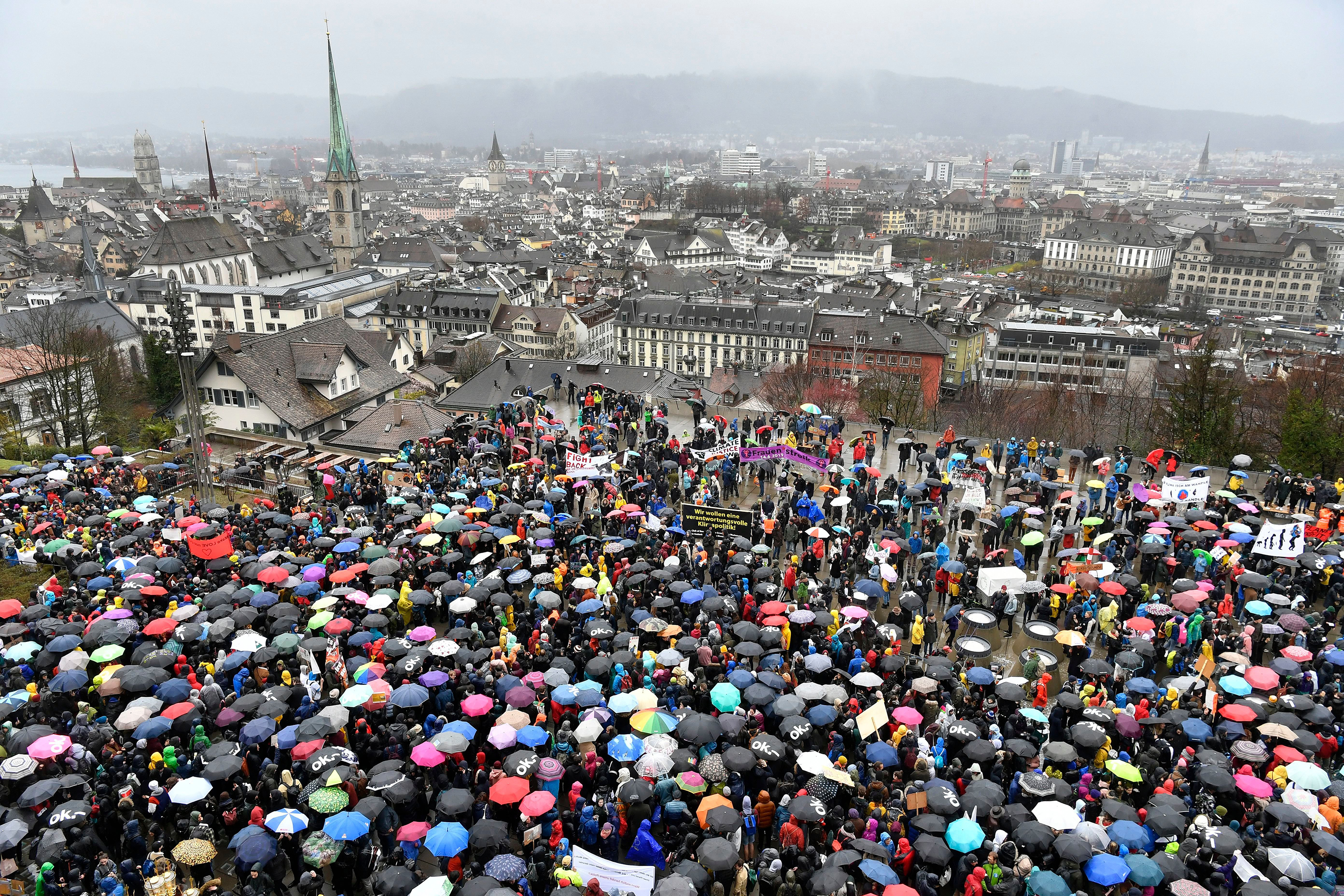 Thousands of students demonstrated during a 'climate strike' protest in Zurich, Switzerland, on March 15, 2019.