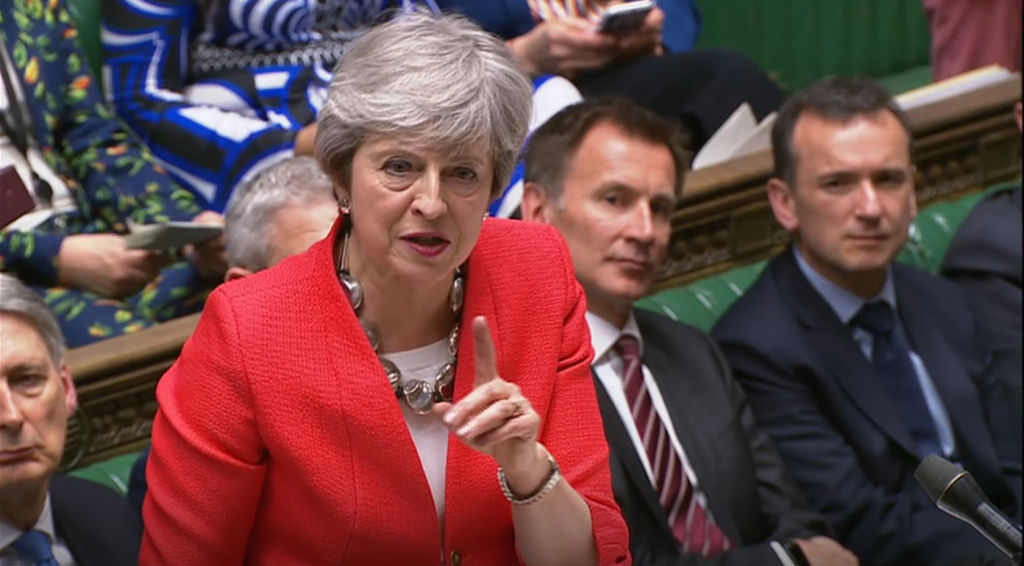 British Prime Minister Theresa May speaks during the Brexit debate in the House of Commons, London.