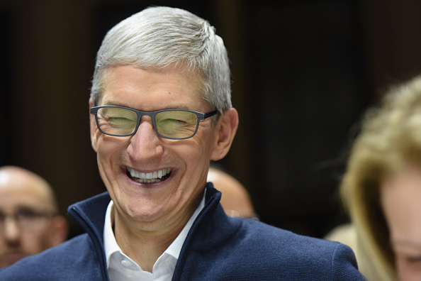 Tim Cook, CEO of Apple, laughs during a launch event unveiling new products at the Brooklyn Academy of Music in Brooklyn, N.Y., on October 30, 2018.