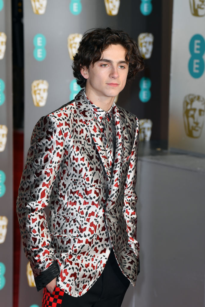 Timothée Chalamet attends the EE British Academy Film Awards at Royal Albert Hall on February 10, 2019 in London, England.