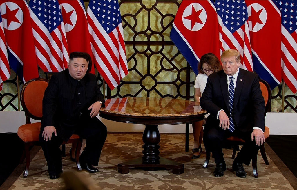 In this handout photo provided by Vietnam News Agency, U.S. President Donald Trump (R) and North Korean leader Kim Jong-un (L) during their second summit meeting at the Sofitel Legend Metropole hotel on February 28, 2019 in Hanoi, Vietnam.