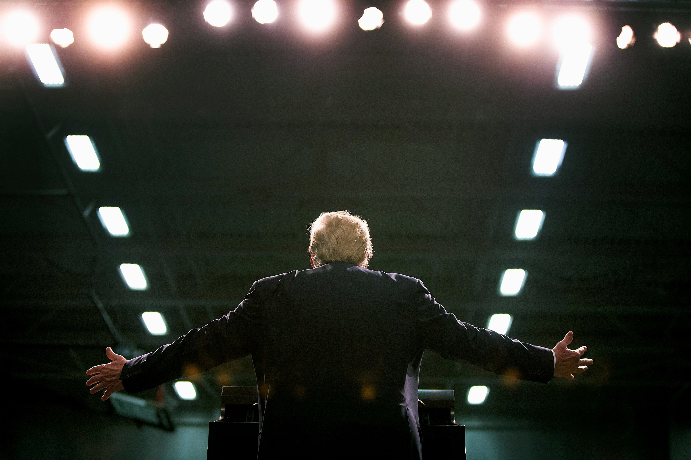 President Donald Trump during a campaign rally for republican presidential candidate in Warren, Michigan on March 4, 2016.