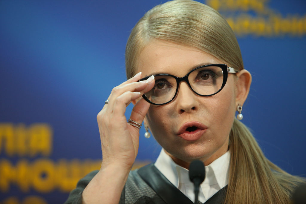 Presidential candidate Yulia Tymoshenko talks to the media during a press conference in Kiev, Ukraine, March 7, 2019. (Photo by Sergii Kharchenko/NurPhoto via Getty Images)