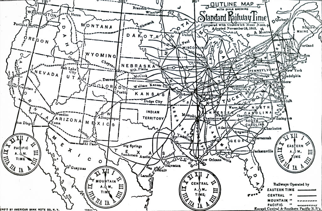 Map of time zones into which the US was divided after the adoption of Standard Time on 18th November 1883. Dated 19th century.