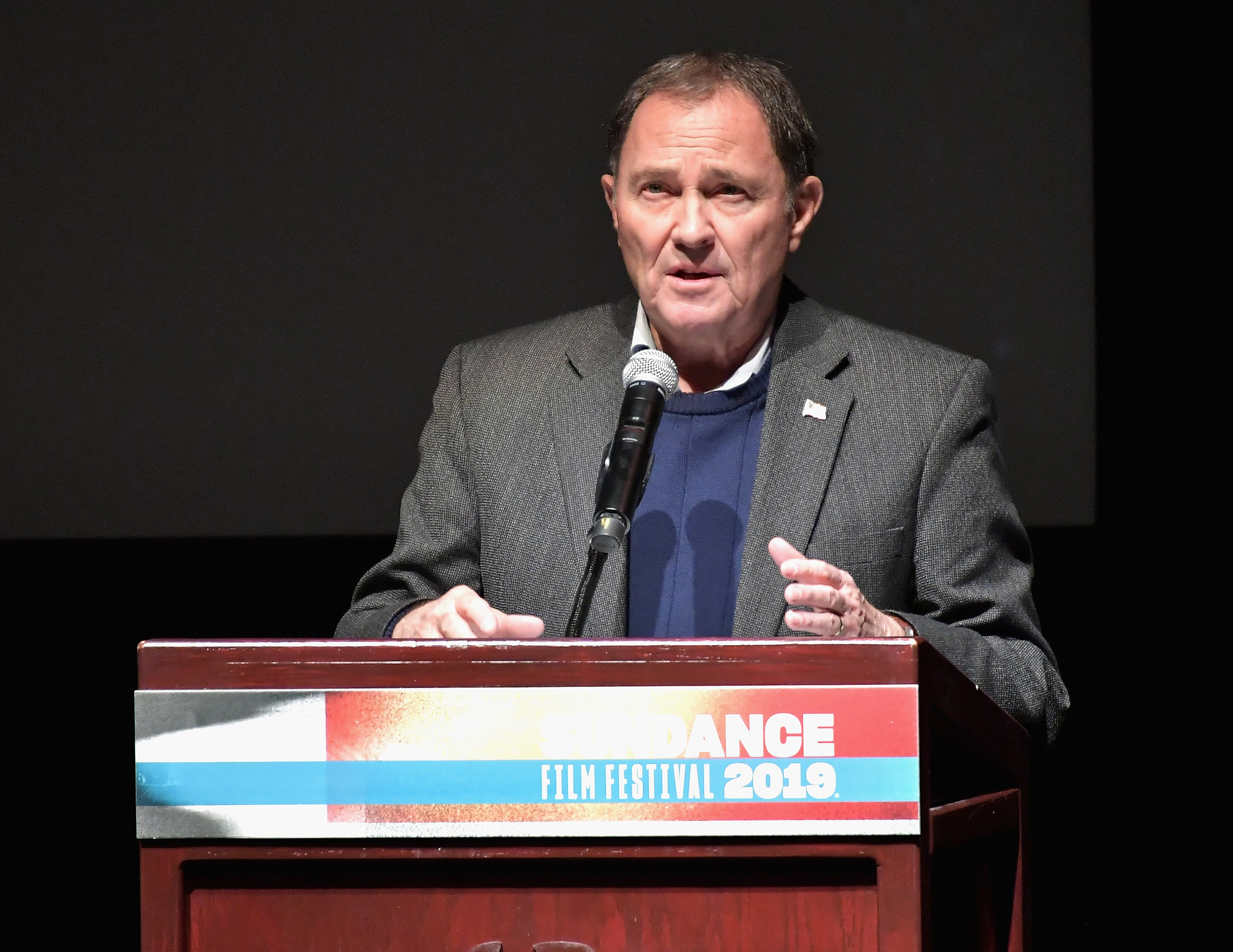 Governor of Utah Gary Herbert speaks during Salt Lake Opening Night Screening Of  The Boy Who Harnessed The Wind  Presented By Zions Bank during 2019 Sundance Film Festival at Rose Wagner Theatre on January 25, 2019 in Park City, Utah.