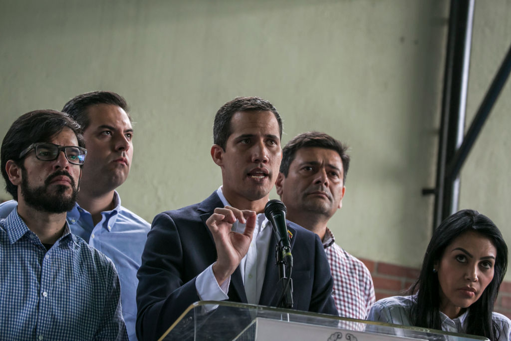 Venezuelan opposition leader Juan Guaido delivers a statement after his chief of staff Roberto Marrero was arrested in Caracas, Venezuela on March 21, 2019.
