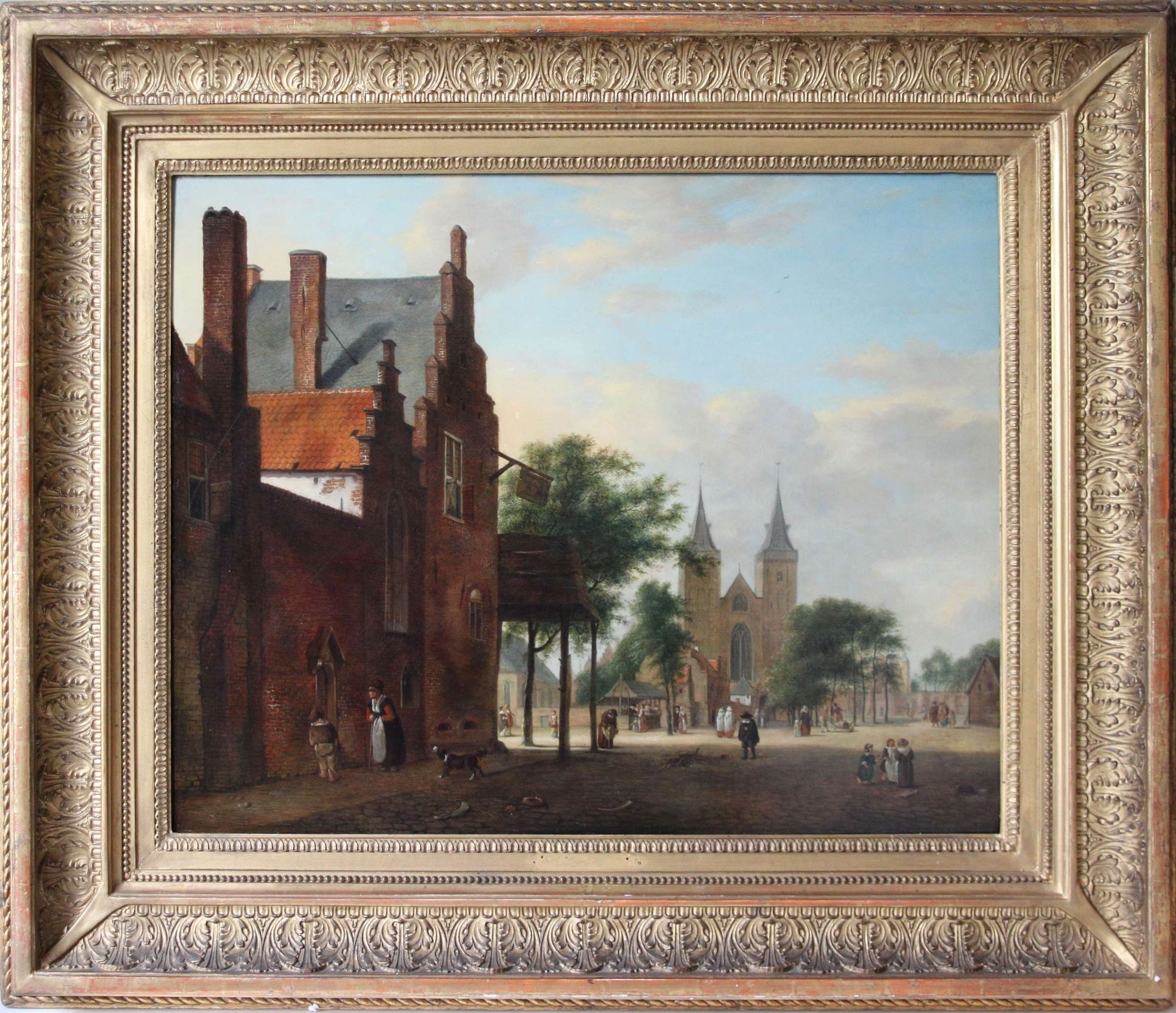 View of a Dutch Square,  believed to be a copy of a painting by the 17th-century Dutch artist Jan van der Heyden.