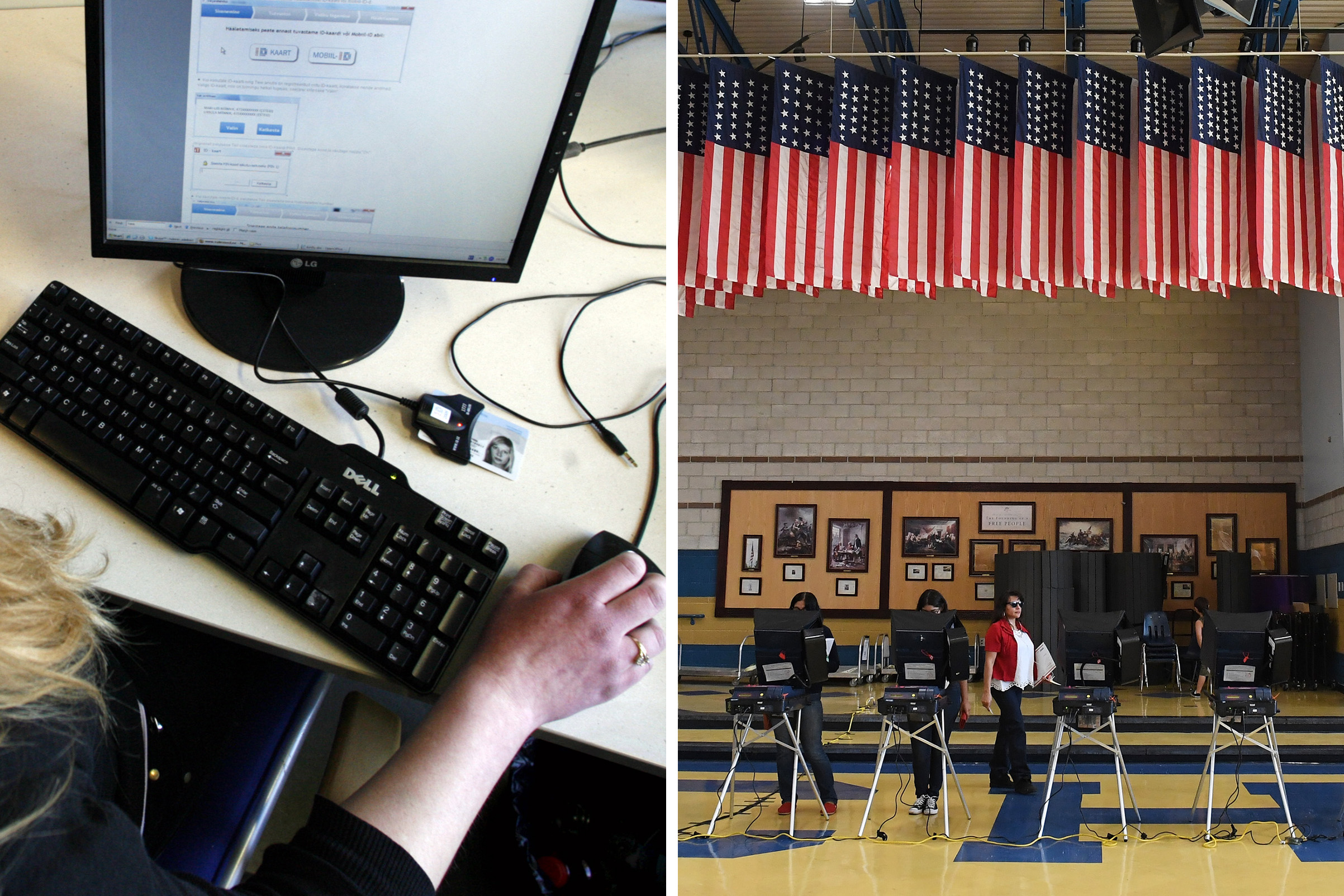 Left: A woman sits in front of a computer to vote in the Estonian general election in Tallinn on Feb 28, 2011; Right: Voters cast their ballots at voting machines at Cheyenne High School on Election Day in North Las Vegas, on Nov. 8, 2016.