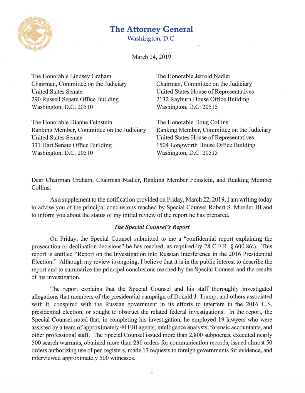 Page 1 of Attorney General William Barr's letter to Congress on Special Counsel Robert Mueller's report.