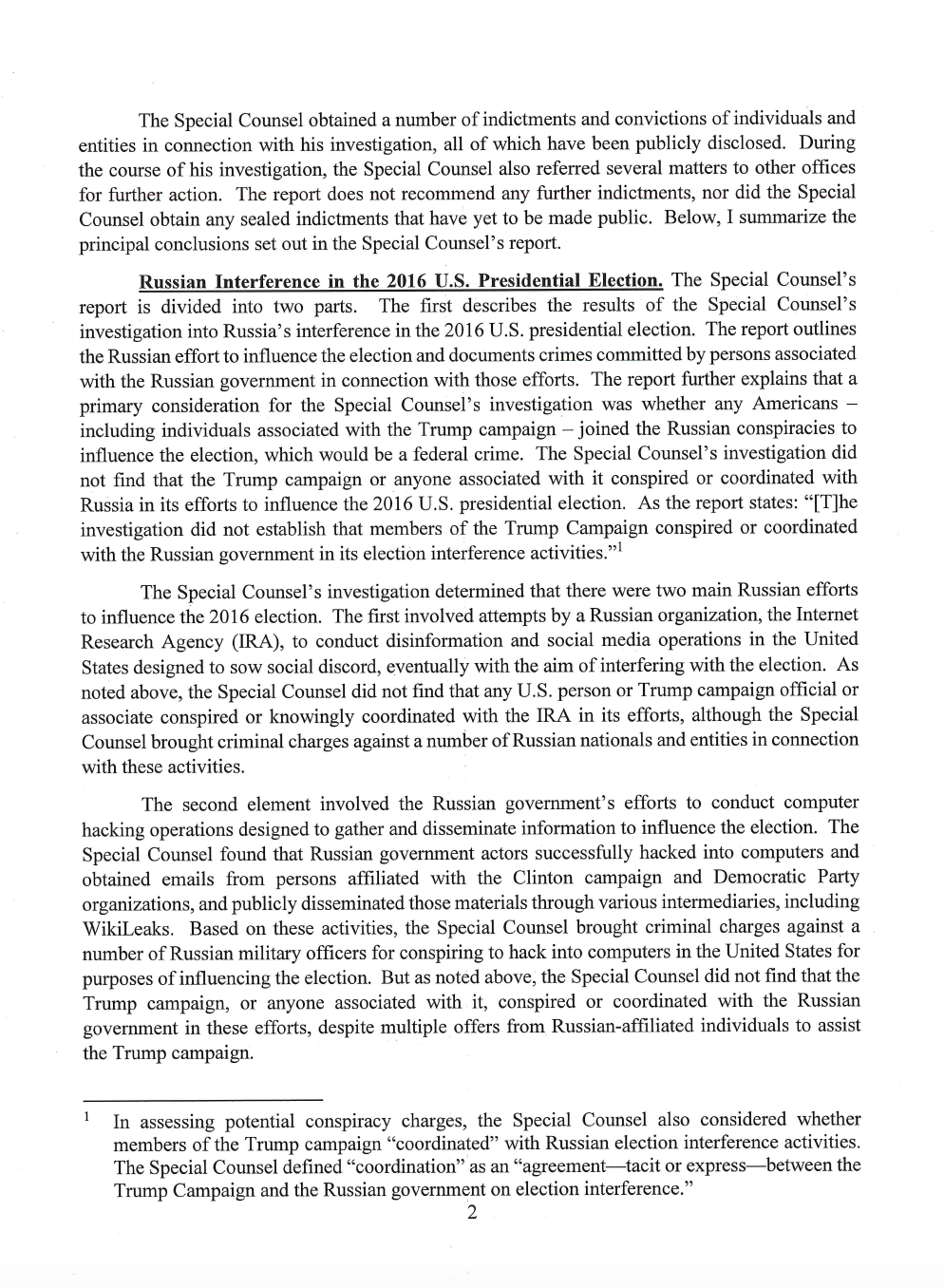 Page 2 of Attorney General William Barr's letter to Congress on Special Counsel Robert Mueller's report.
