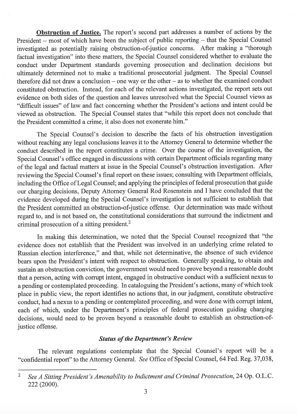 Page 3 of Attorney General William Barr's letter to Congress on Special Counsel Robert Mueller's report.