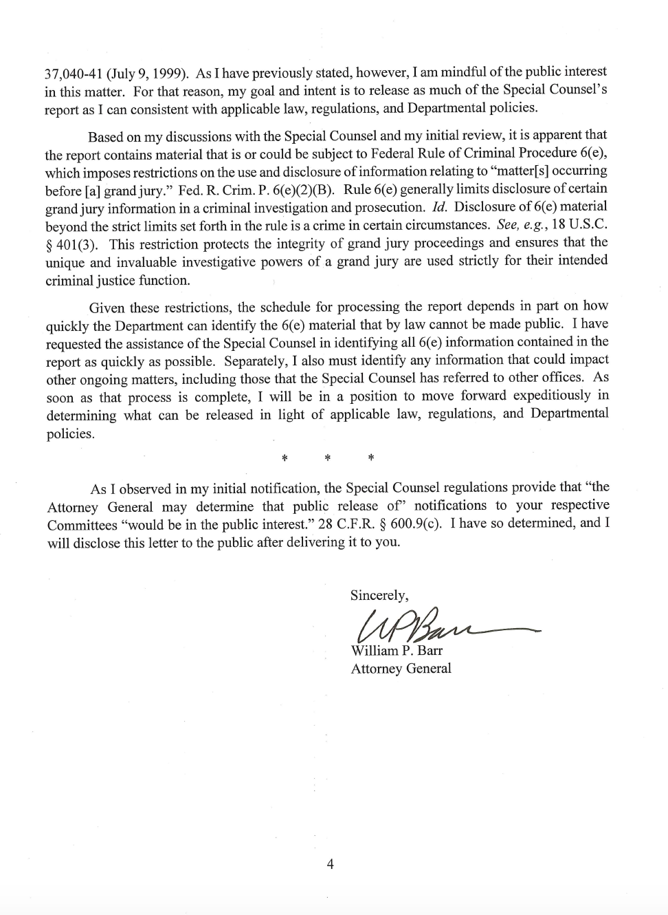 Page 4 of Attorney General William Barr's letter to Congress on Special Counsel Robert Mueller's report.