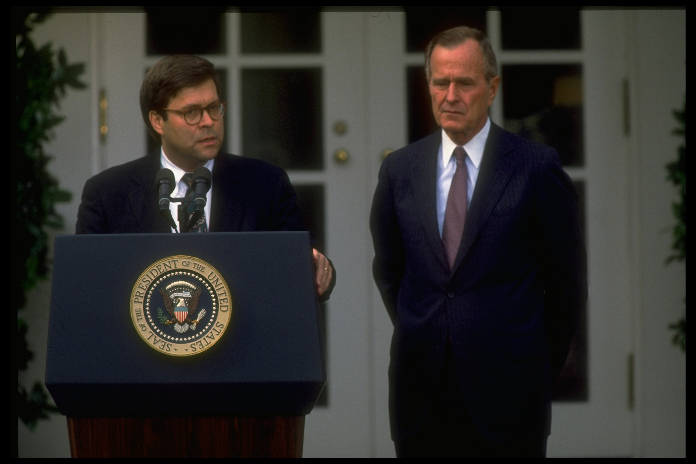 Barr joins President George H.W. Bush for the announcement of his nomination as AG in 1991