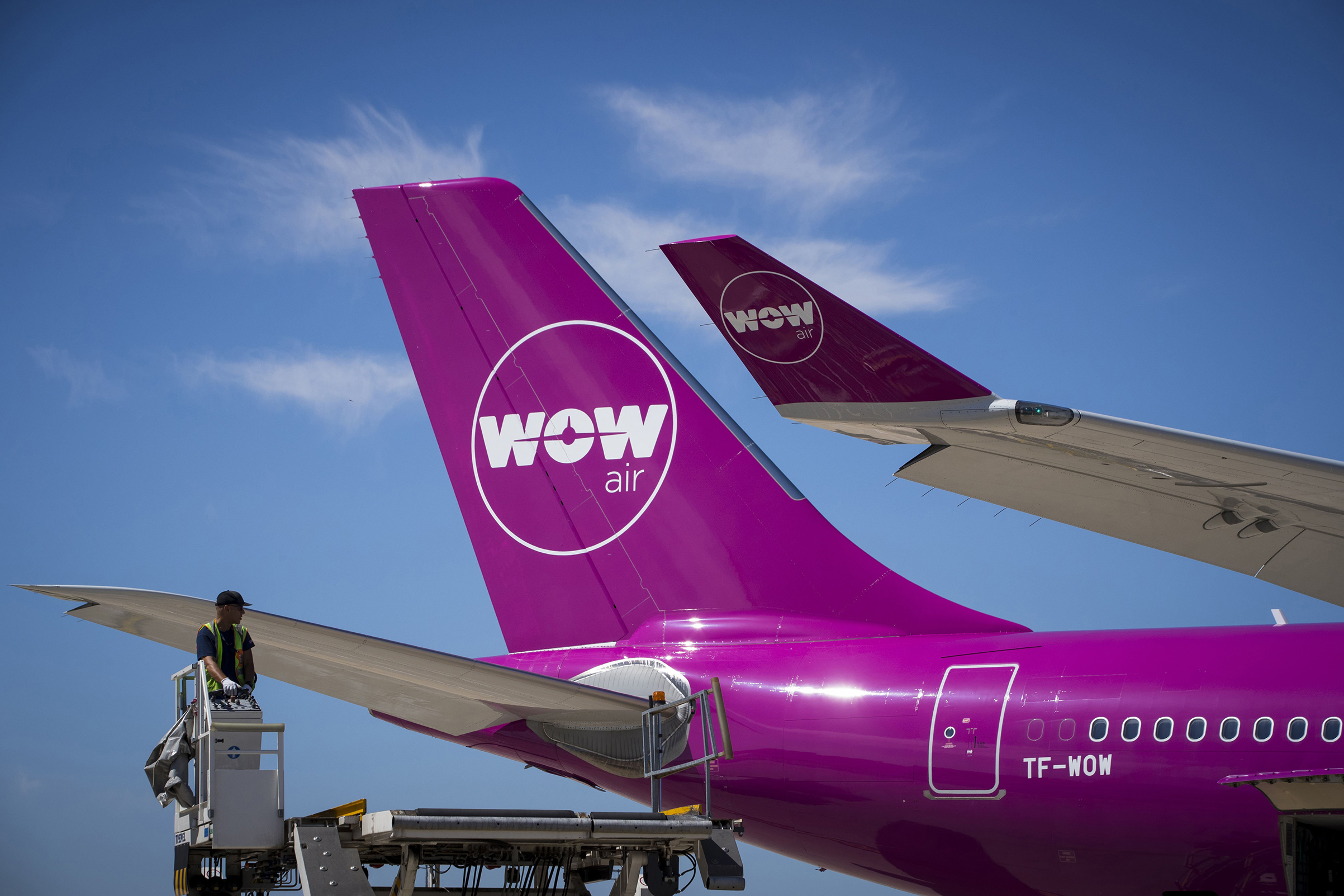 An aircraft of Icelandic low-cost airline WOW Air on the tarmac of Roissy-Charles de Gaulle Airport, north of Paris on Aug. 6, 2018.
