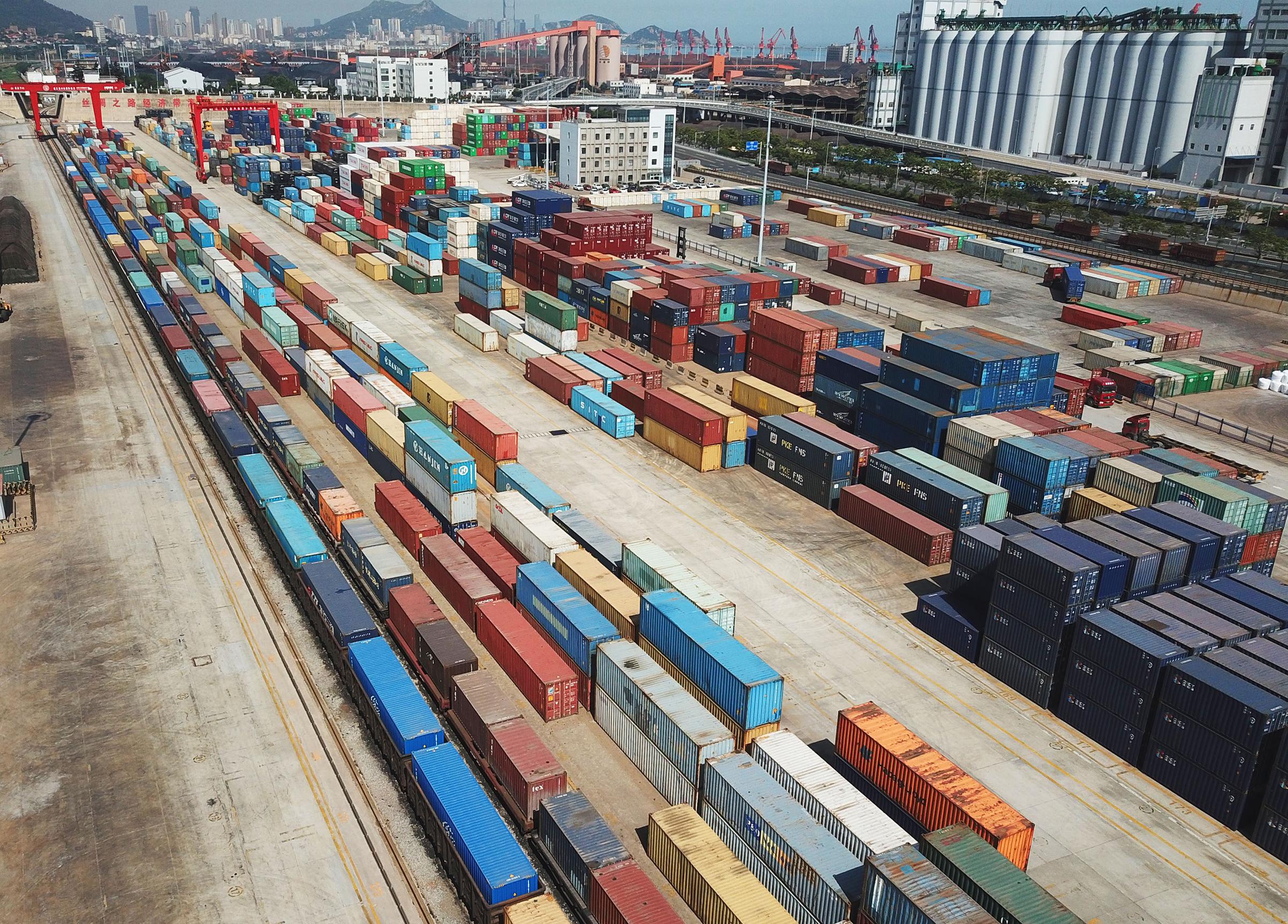 Shipping containers at the China-Kazakhstan logistics terminal on May 31, 2018 in Lianyungang, Jiangsu Province of China.