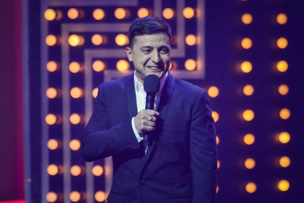 Volodymyr Zelensky candidate for the post of President of Ukraine during the concert program of the studio  Kvartal 95  on March 13, 2019.