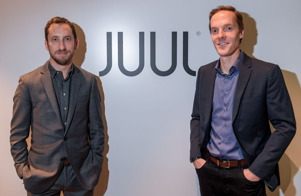 Juul founders James Monsees and Adam Bowen as Juul is introduced in Germany on Dec. 12, 2018.