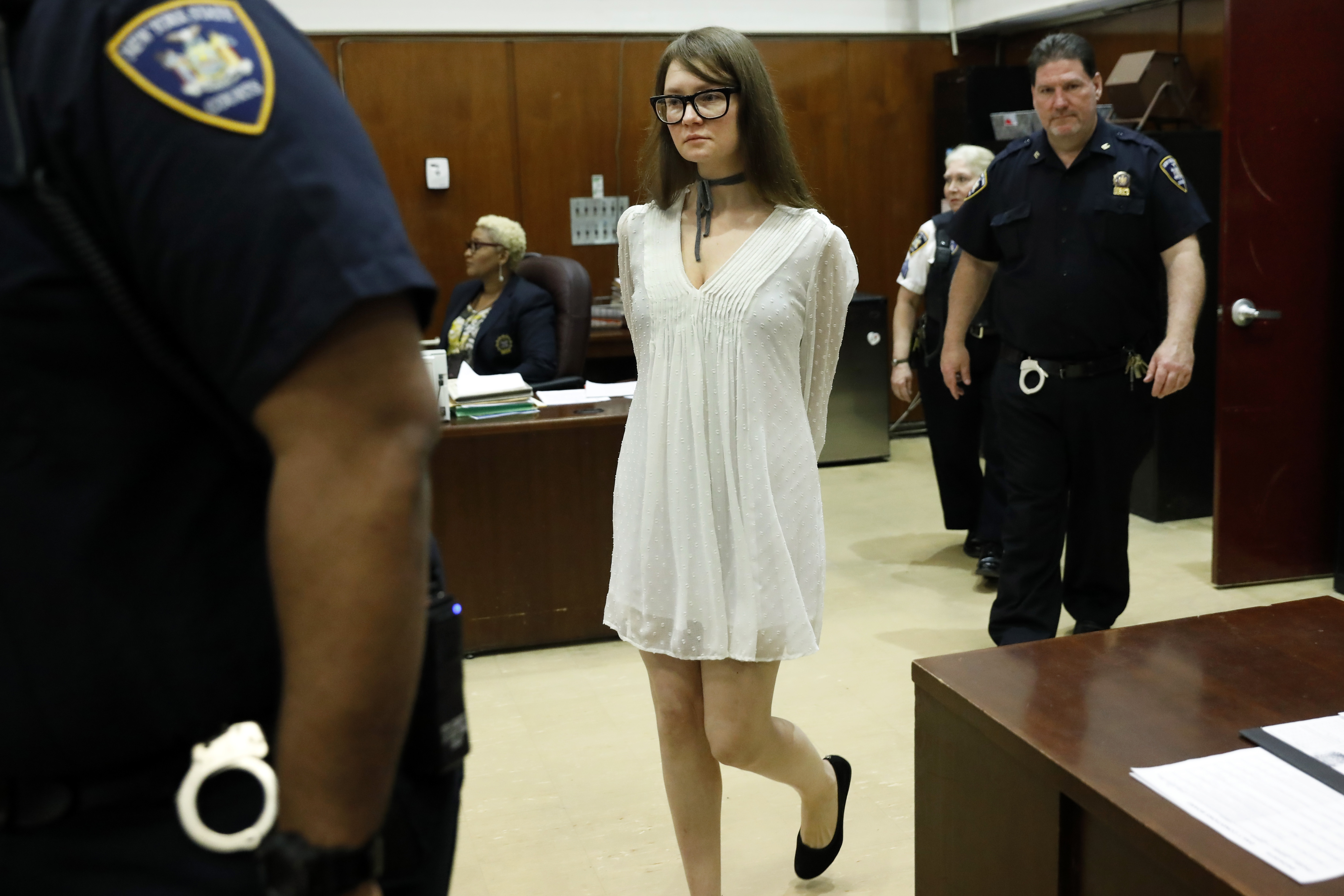 Anna Sorokin returns to court during her trial at New York State Supreme Court, in New York, Wednesday, April 24, 2019.