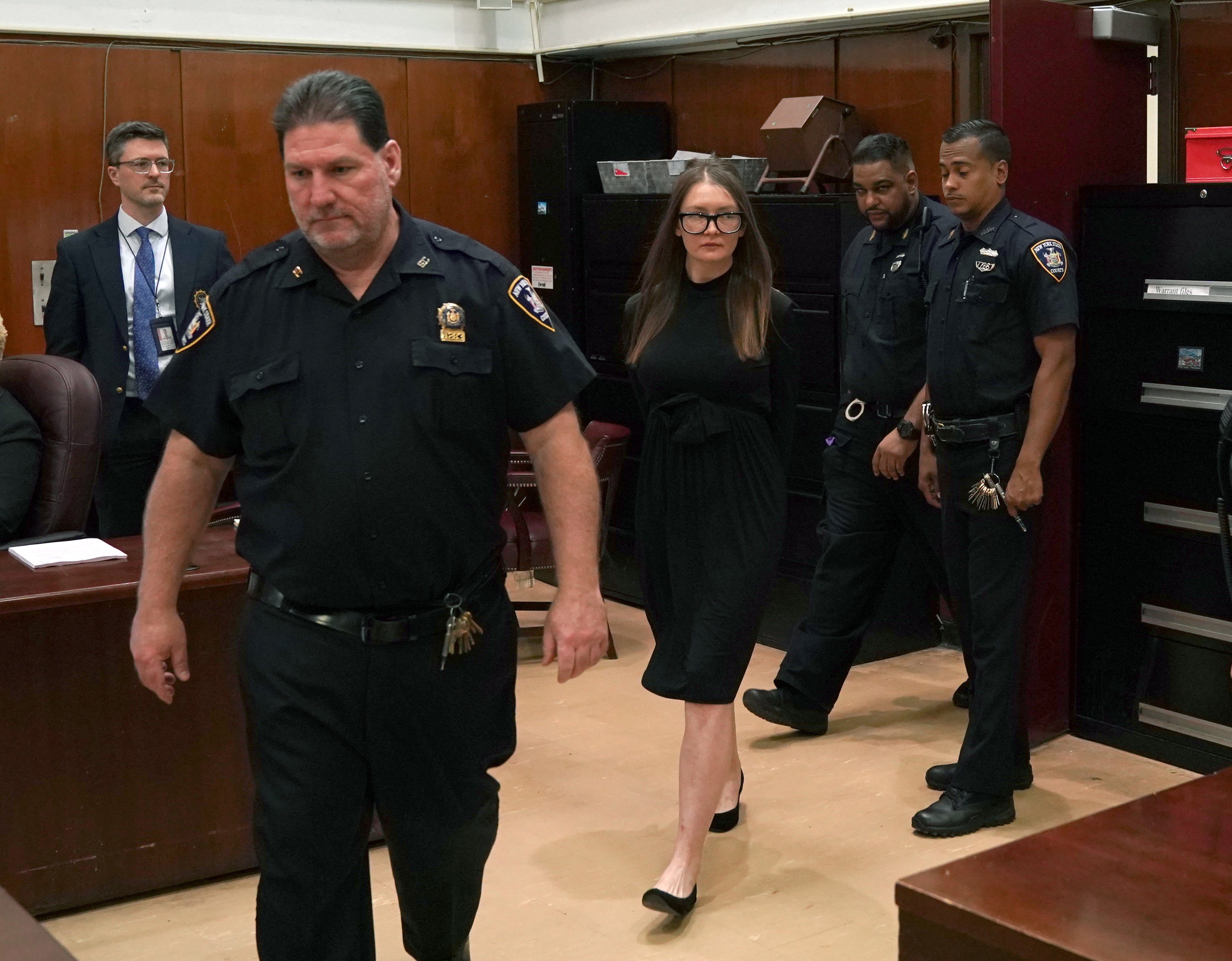 Fake German heiress Anna Sorokin arrives in court during her sentencing at Manhattan Supreme Court May 9, 2019.