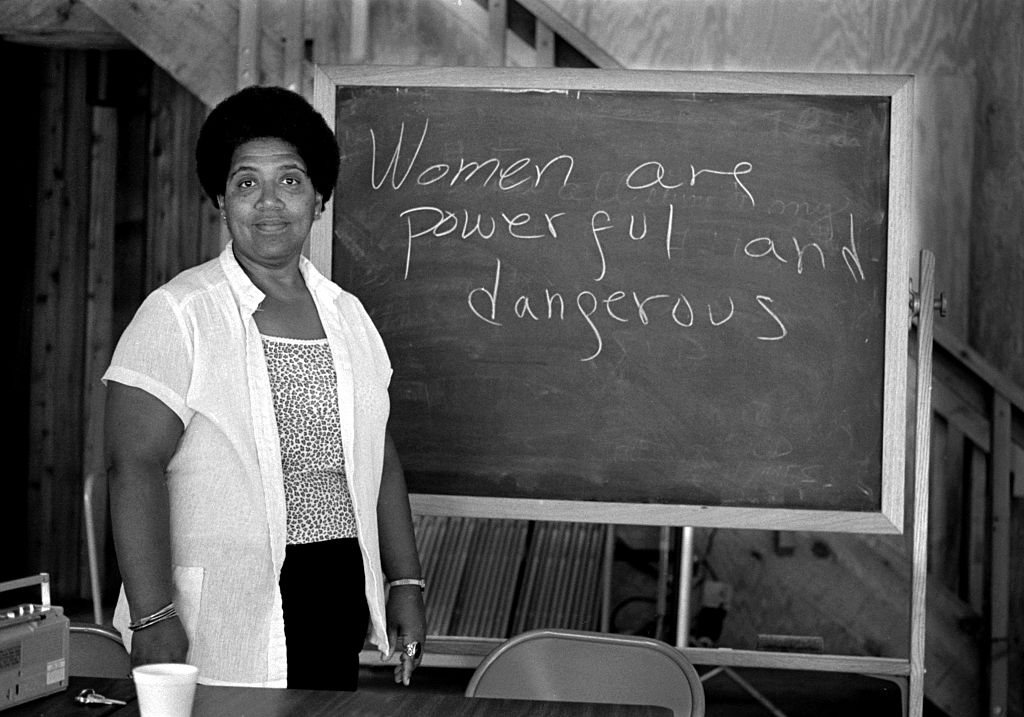 African-American writer, feminist, poet and civil-rights activist Audre Lorde (1934-1992) poses for a photograph during her 1983 residency at the Atlantic Center for the Arts in New Smyrna Beach, Florida.
